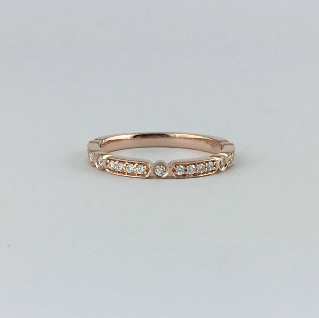 14k Rose Gold .19ctw Diamond Bezel Station Stackable Wedding Band (Size 6)
