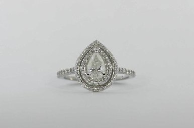 14KW .70CT-CTR (EGL I1/G) 1CTW DOUBLE HALO ENGAGEMENT RING WITH PEAR CENTER & ROUND BRILLIANTS