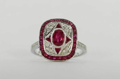 18KW .55CTW-DIA .95CTW-RU RUBY & DIAMOND VINTAGE STYLE LADIES RING