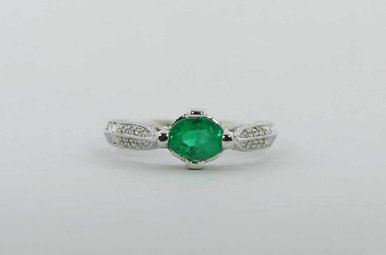 18KW .14CTW-DIA 1CT-EM EMERALD & DIAMOND LADIES RING