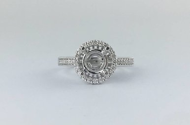 14k White Gold 3/4ctw Diamond Halo Semi Mount Engagement Ring