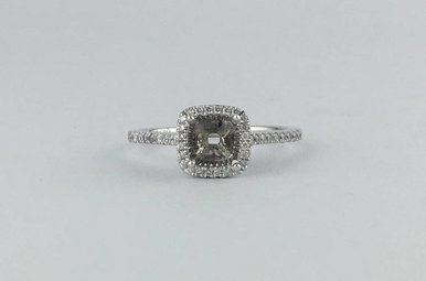 14k White Gold 1/5ctw Diamond Cushion Halo Semi Mount Engagement Ring