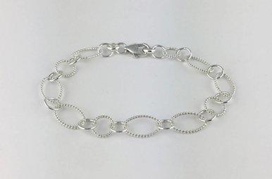 """Sterling Silver Single Oval Link Bracelet 7.5"""""""