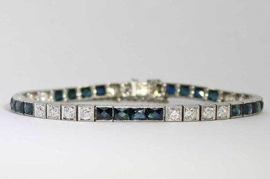 PLAT 2CTW-DIA 4CTW-SA VINTAGE HANDMADE SAPPHIRE & DIAMOND BRACELET