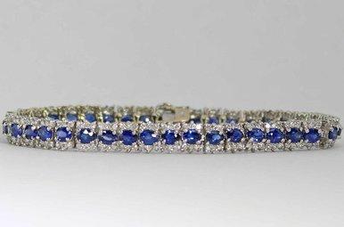 14KW 2.42CTW-DIA 8.75CTW-SA BLUE SAPPHIRE & DIAMOND BRACELET