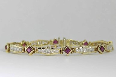 14KY 2CTW-DIA RUBY & DIAMOND BRACELET