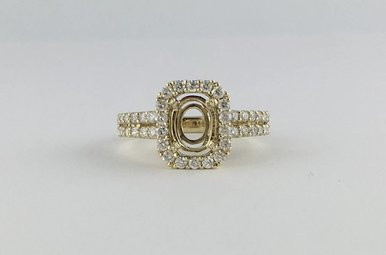 14k Yellow Gold .74ctw Diamond Halo Semi Mount Engagement Ring