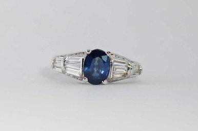 14KW 1CTW-DIA 1.49CT-SA OVAL BLUE SAPPHIRE & DIAMOND RING
