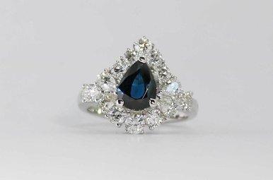 18KW 1.41CTW-DIA 1-1/2CT-SA PEAR BLUE SAPPHIRE & DIAMOND RING
