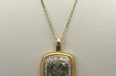 14KY 3.85 GREEN AMETHYST & .06CTW DIAMOND NECKLACE