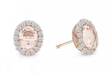 Lafonn 2.9cttw 34 Stones Morganite Oval Halo Stud Earrings