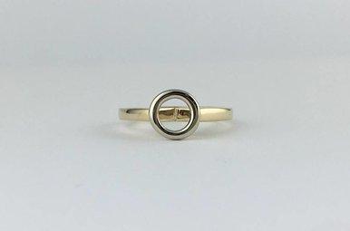 14k Yellow/White Two-Tone Gold Round Bezel .75ct N/O-SI2 Diamond Engagement Ring
