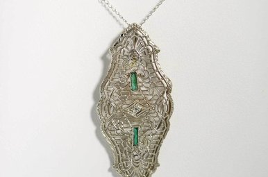 14KW SYN/EMER VINTAGE FILIGREE PENDANT WITH SYNTHETIC EMERALDS & 1 DIAMOND