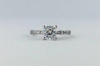 Tacori Platinum .15ctw Diamond Semi Mount (CZ Center) Scalloped Engagement Ring