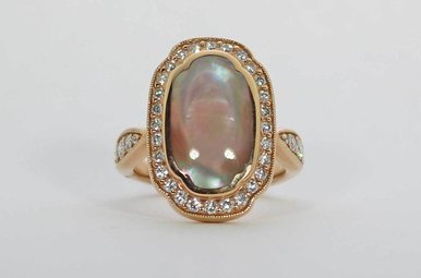 14KR .72CTW-DIA PINK/MOP KABANA RING WITH PINK MOTHER OF PEARL & DIAMONDS