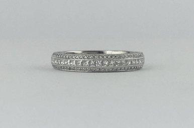 Tacori 18k White Gold .63ctw Diamond Round & Princess Cut Stackable Wedding Band Ring