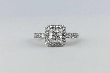 Tacori Platinum .59ctw Diamond Square Halo Semi Mount (CZ Center) Engagement Ring