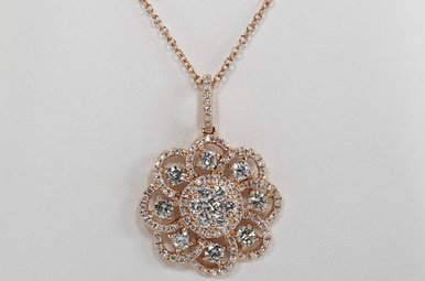 14KR 1.46CTW DIAMOND FLOWER PENDANT