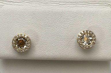 14KW WHITE TOPAZ & DIAMOND EARRINGS