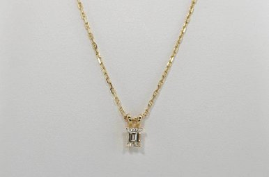14KY 1/3CT EMERALD CUT DIAMOND SOLITAIRE PENDANT
