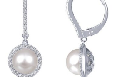 LAFONN .76CTW 68 STONE FW PEARL HALO EARRINGS