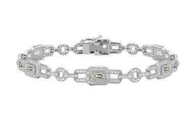 LAFONN SS/BOND PLAT 7.25 INCH SIM DIAMOND BRACELET