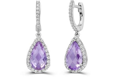 LAFONN 68 STONE 6.64CTW AMETHYST EARRINGS