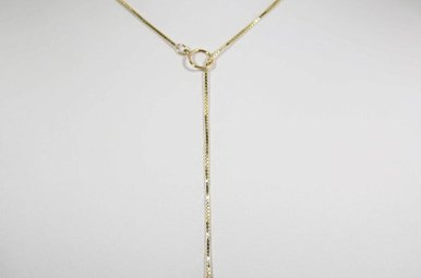18KY LARIAT NECKLACE WITH 1 DIAMOND ACCENT