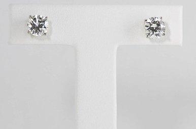 14KW 1-1/2CTW SI1/H-I ROUND BRILLIANT DIAMOND STUD EARRINGS