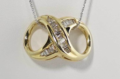 14KY 3/4CTW DIAMOND SLIDE PENDANT WITH BAGUETTES (CHAIN IS NOT INCLUDED)