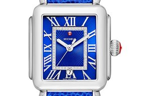 Michele Deco Madison, Cobalt Diamond Dial & Blue Lizard Leather Strap Watch