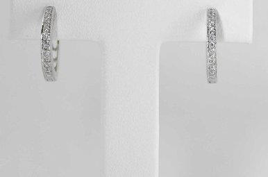 14KW .16CTW HUGGIE DIAMOND HOOP EARRINGS