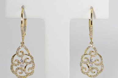 14KY .44CTW DIAMOND SCROLL DANGLE EARRINGS, LEVER BACKS