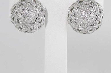 14KW 1.6CTW DIAMOND BUTTON OMEGA BACK EARRINGS