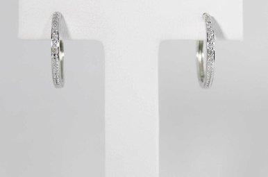 14KW .08CTW DIAMOND HOOP EARRINGS
