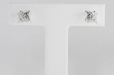 14KW .97CTW PRINCESS CUT DIAMOND STUD EARRINGS