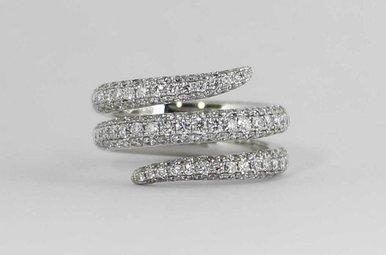 18KW 2CTW PAVE' SET DIAMOND LADIES FASHION RING