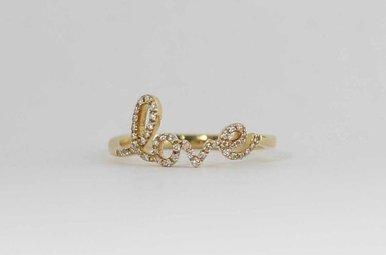 14KY .14CTW LADIES DIAMOND LOVE RING