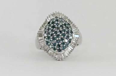 14KW 2.6CTW IRRADIATED BLUE & WHITE DIAMOND LADIES RING ROUNDS & BAGUETTES