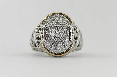 SS/14KY .75CTW PAVE' DIAMOND LADIES FASHION RING