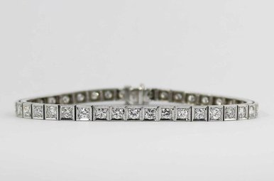 14KW 4CTW VS/F-G LADIES BRACELET WITH ROUND BRILLIANT DIAMONDS