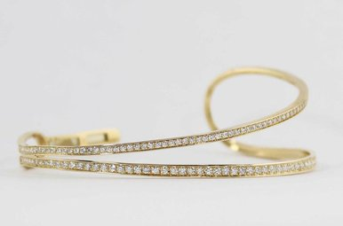14KY 1.58CTW LADIES DIAMOND BANGLE BRACELET