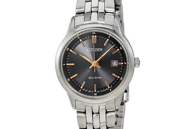 Citizen Eco Black Dial Stainless Steel Ladies Watch