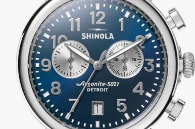 Shinola Runwell 2 Eye Chrono 41mm, Polished Stainless Steel Midnight Blue Dial Watch (S0120044131)