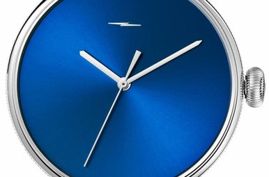 Shinola The Bolt 43mm Stainless Steel, Blue Dial Bourbon Leather Strap Watch (S0120052581)