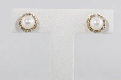 14KY .16CTW-DIA PEARL & DIAMOND HALO STUD EARRINGS