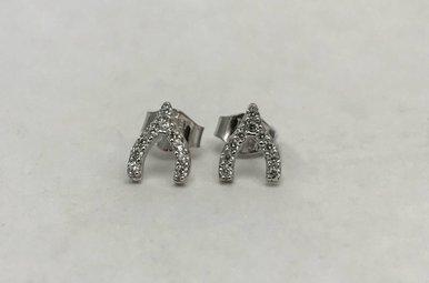 Sterling Silver & CZ Wishbone Earrings