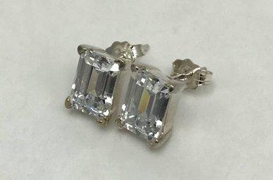 Sterling Silver Emerald Cut CZ Earrings