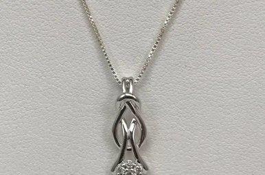 Sterling Silver .08ctw Dia 18 Inch Chain & Pendant