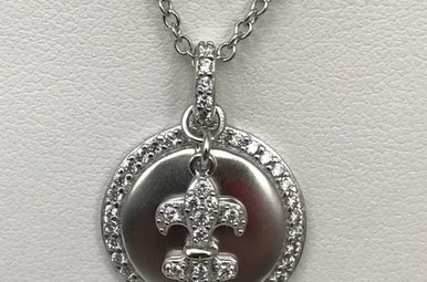 Sterling Silver & CZ Fleur De Lis Chain & Pendant